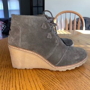 TOMS lace-up wedge booties